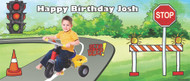 Custom kids birthday party banner with photo - Traffic school party theme. Order online in Australia