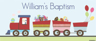 Personalized baptism banner with photo - Train theme. Printed online in Australia