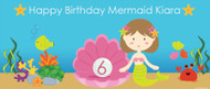 Mermaid Under the Sea Personalised Birthday Banner. Printed in Australia