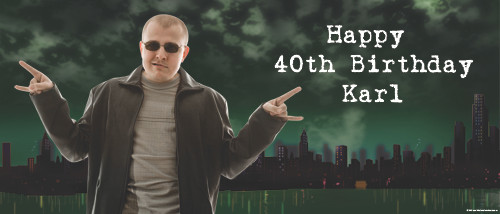 Personalized adults birthday party banner with photo - Underbelly theme. Order online in Australia