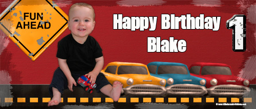 Personalized boys birthday party banner with photo - Zoom Zoom Cars theme. Order online in Australia
