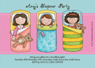 Girls sleepover party invitation. Order online in Australia