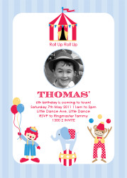 Retro Circus Themed Birthday Party Invitation