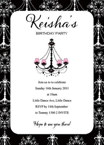 Girls Vintage Chandelier Birthday Party Invitation