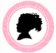 Pink Cameo Party Spot Sticker Labels