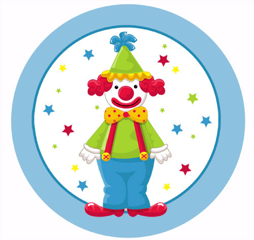 Party Labels Stickers Circus Clown