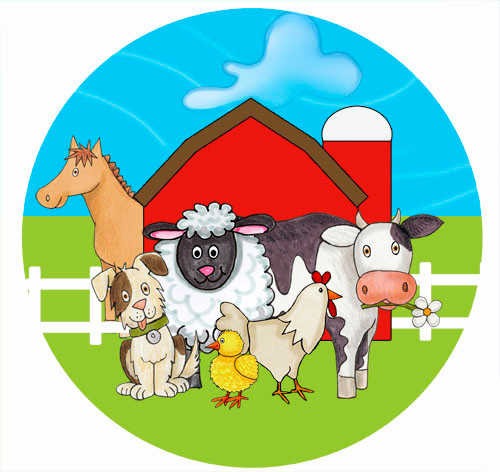 Farm Party Spot Sticker Labels