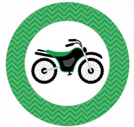 Green Dirt Bike Party Spot Sticker Labels