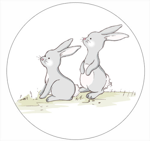Grey Bunnies Party Spot Sticker Labels