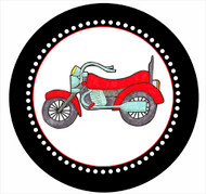 Motorbike Party Spot Sticker Labels