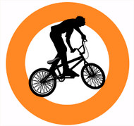 Orange BMX Party Spot Sticker Labels