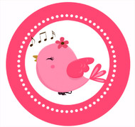 Pink Chirping Bird Party Spot Sticker Labels