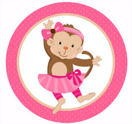 Pink Dancing Monkey Party Spot Sticker Labels