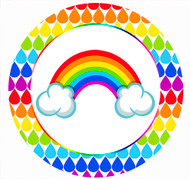 Rainbow Party Spot Sticker Labels