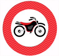 Red Dirt Bike Party Spot Sticker Labels