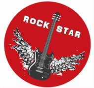 Guitar Rockstar Party Spot Sticker Labels