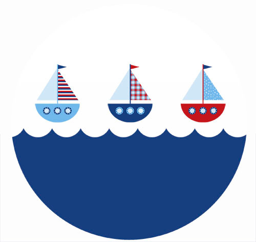Nautical Themed Sailboat Party Spot Sticker Labels