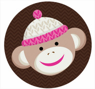 Pink Sock Monkey Party Labels & Stickers