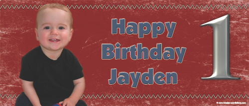 Personalized boys birthday party banner with photo - Red theme. Buy online in Australia