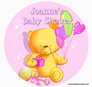 Personalised Cake Icing - Baby Shower Cake - Girl Teddy Bear