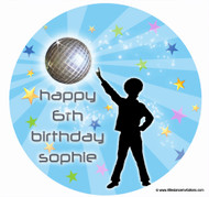 Disco Party Birthday Cake Edible Image