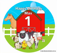 Farm Barnyard Birthday Cake Edible Image