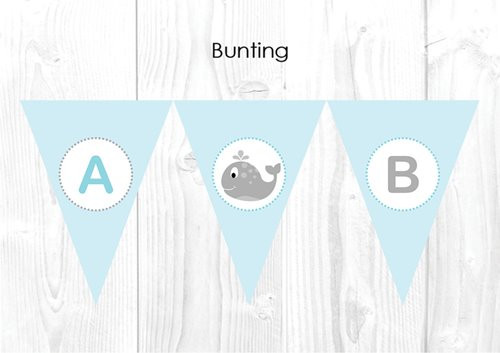 Little whale Themed Personalised Baptism & Christening Decoration Bunting flags.