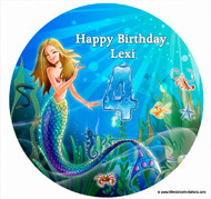 Personalised Cake Icing - Underwater Mermaid