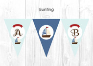 Nautical Sailboat Themed Personalised Baptism & Christening Decoration Bunting flags.