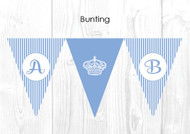 Royal Light Blue Stripe Personalised Baptism & Christening Decoration Bunting flags.