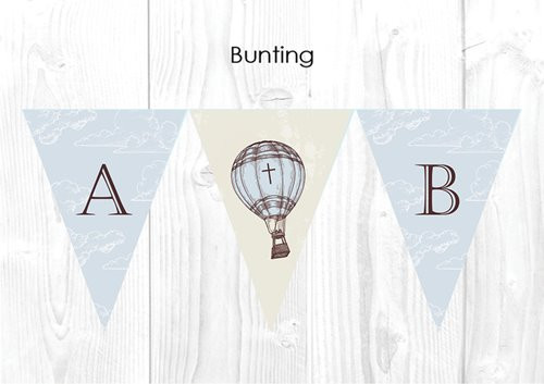 Vintage Hot Air Balloon Personalised Baptism & Christening Decoration Bunting flags.