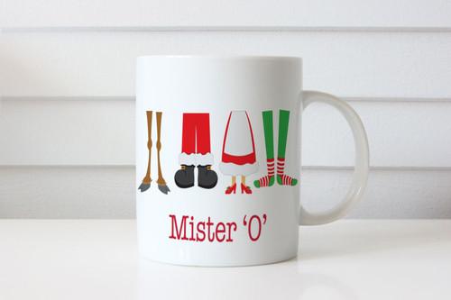 Christmas Personalised Mug - jolly feet design.  For sale online in Australia. Delivery to Melbourne, Brisbane, Sydney, Canberra. Made in Melbourne Australia