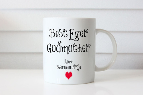 Best Ever Godmother Personalised Mug - Gift For Godmother with her name on it. Made in Melbourne Australia