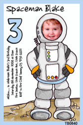 Cartoon Spaceman Birthday Party Invitations