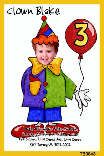 Kids Clown Party Invitations Circus Invitations For Sale Online
