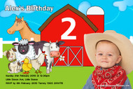 Petting zoo or travelling farmyard kids party invitation. Personalised with a photo of your child.