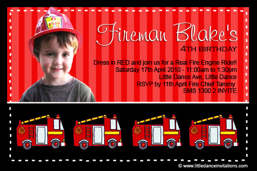 Fireman Birthday Party Invitations Firefighter Kids Birthday