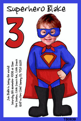 Superhero Cartoon Birthday Party Invitations