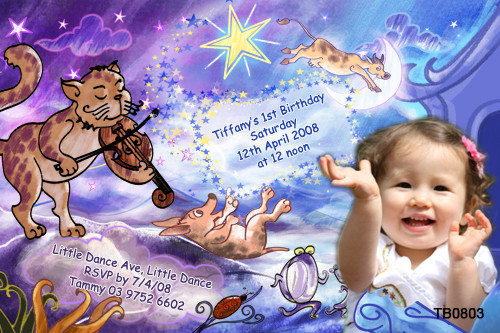 The Cat Fiddle Birthday Party Invitation