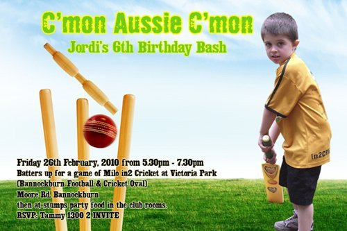 Invitation For Corporate Cricket Tournament: Kids Cricket Themed Birthday Invitations Childrens Cricket
