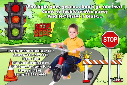 Go To Traffic School >> Themed Kids Birthday Party Invitations Traffic School