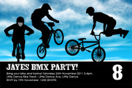 Blue BMX Birthday Party Invitations
