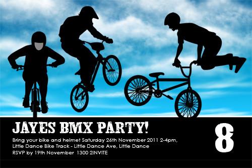Blue BMX Birthday Party Invitations