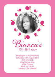 Hot Pink Roses Tween Party Invitations