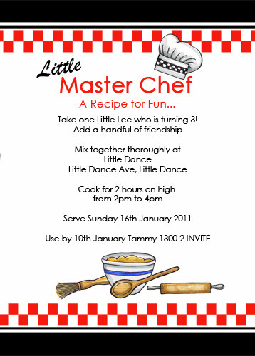 Master Chef Party Themed Invitation For Sale
