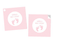 Baby Shower Pink Footprints Square Tags and Stickers