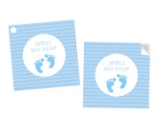 Baby Shower Blue Footprints Square Tags Labels and Stickers - Printed in Melbourne Australia