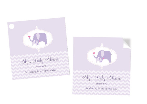 Purple Baby Baby Shower Labels Stickers and Tags - Personalised and printed in Melbourne Australia