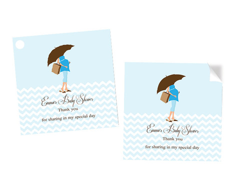 Blue Mom to Be Square Tags Labels and Stickers - Printed in Melbourne Australia