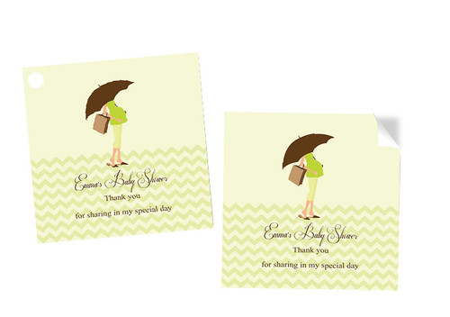 Green Mummy Square Tags and Stickers